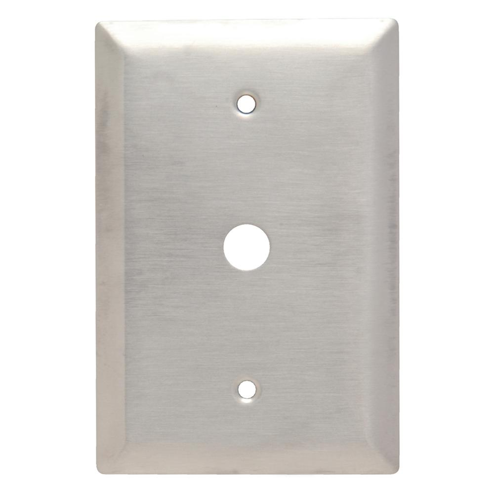302 Series 1-Gang 17/32 in. Hole Coaxial Wall Plate, Stainless Steel