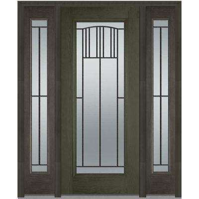 60 In X 80 Madison Right Hand Inswing Full Lite Decorative Stained