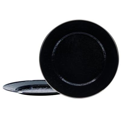 12.5 in. Solid Black Enamelware Round Chargers (Set of 2)
