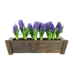 28 in. Wood Dark Flame Rectangle Planter