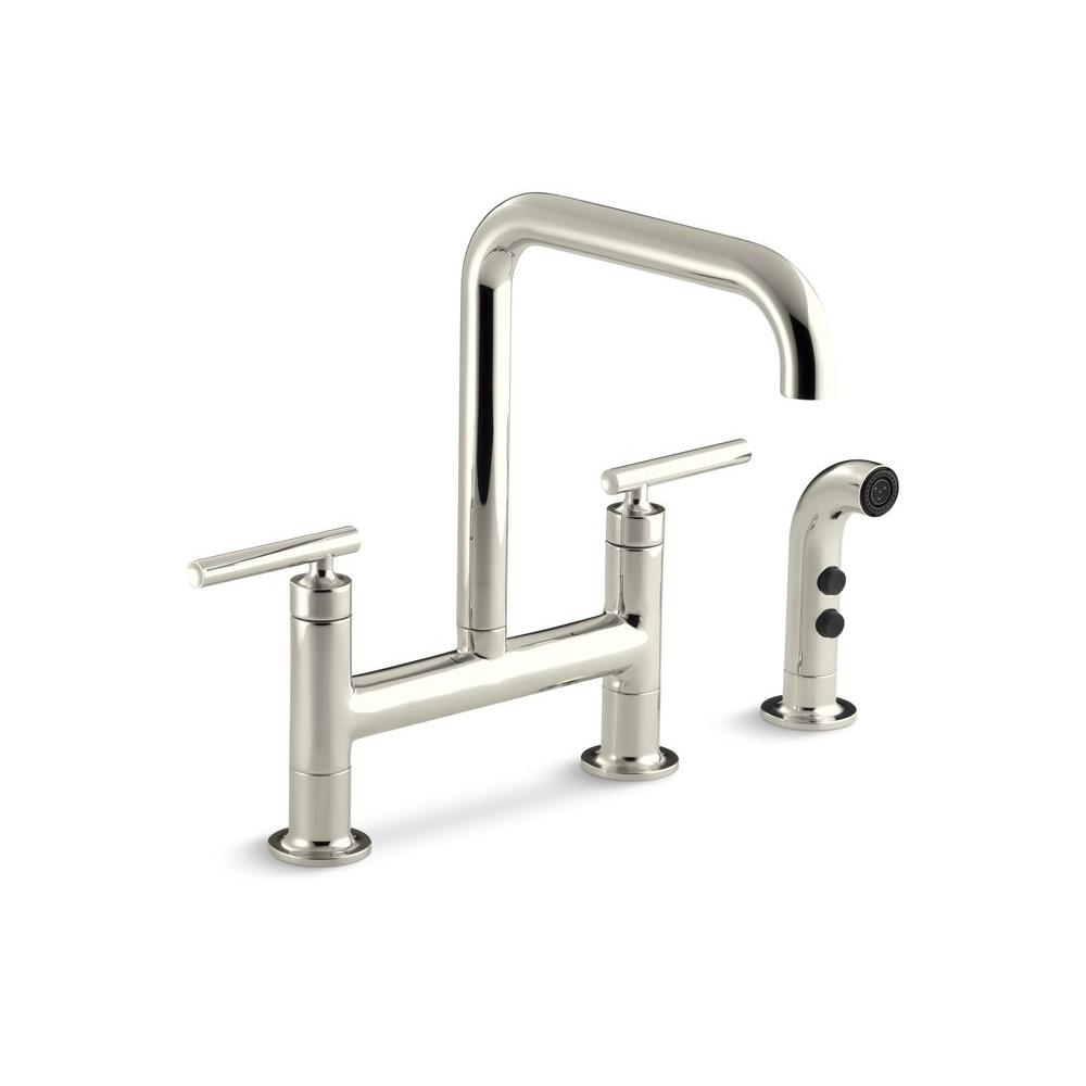 KOHLER Purist 12 in. 2-Handle Deck-Mount High-Arc Side Sprayer Bridge Kitchen Faucet in Vibrant Polished Nickel