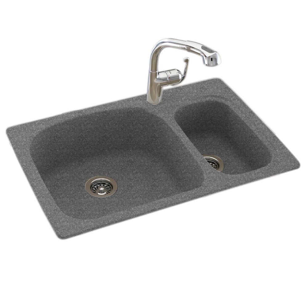Swan Drop In Undermount Composite 33 In 1 Hole 50 50 Double Bowl Kitchen Sink In Night Sky