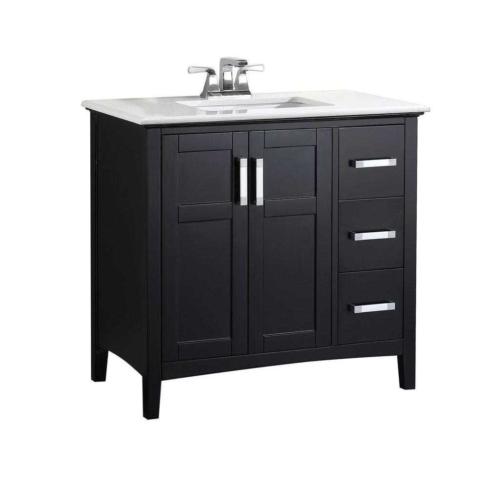 Simpli Home Winston 36 in. Bath Vanity in Black with Quartz Marble Vanity  Top in Bombay White with White Basin