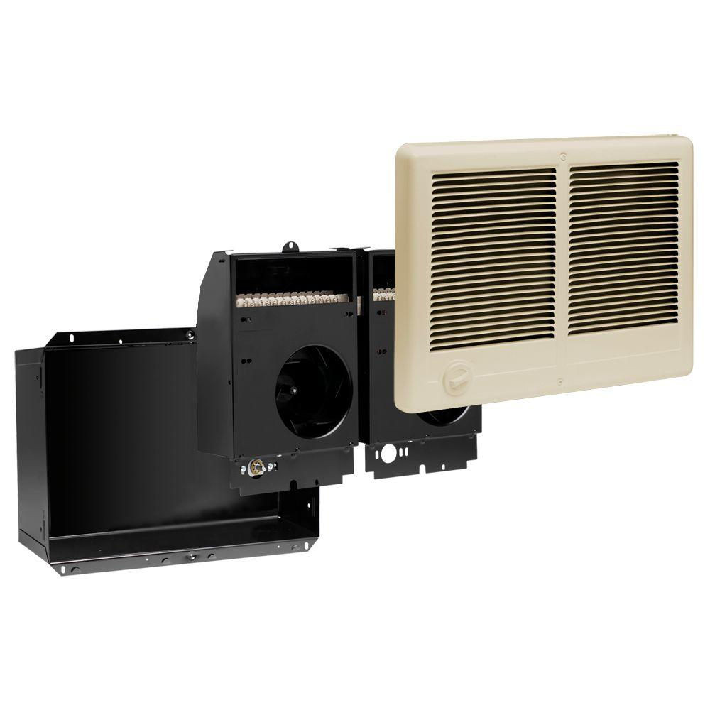 Com-Pak Twin 3,000-Watt 240-Volt Fan-Forced In-Wall Electric Heater with Almond