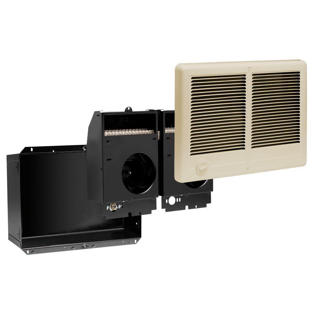 Com-Pak Twin 3,000-Watt 240-Volt Fan-Forced In-Wall Electric Heater with Almond Grill