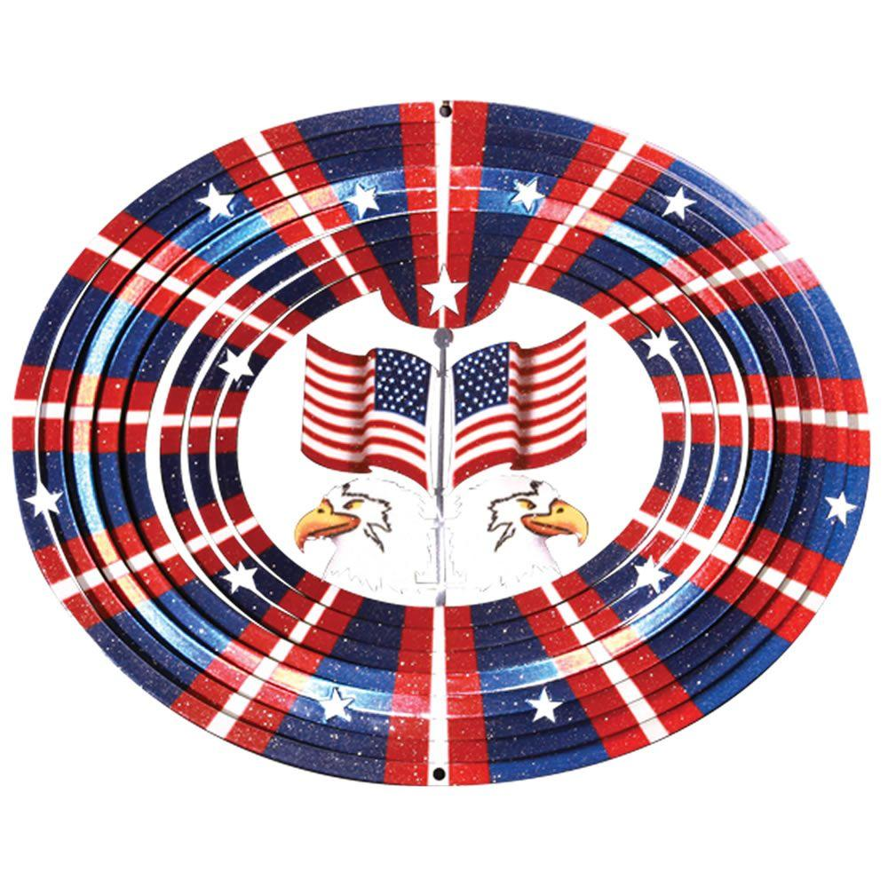 Iron Stop 10 in. 3D American Flag and Eagle Wind Spinner
