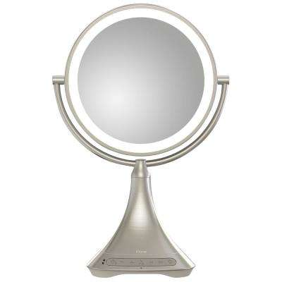 "Portable/Rechargeable 9"" Double-sided Vanity Mirror with Bluetooth Audio / Speakerphone and USB Charging"