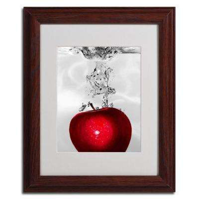 11 in. x 14 in. Red Apple Splash Dark Wooden Framed Matted Art