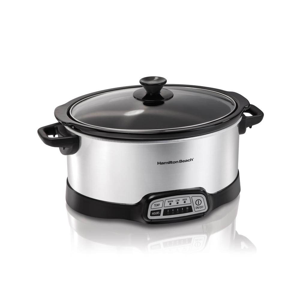 Programmable 7 Qt. Slow Cooker, Silver This slow cooker is ideal for no-fuss weeknight dinners as well as special occasions. Making a delicious, home-cooked meal is as easy as putting a few ingredients in the crock and turning it on. This slow cooker gives you the ultimate selection of temperature and cooking time combinations. Color: STAINLESS STEEL.