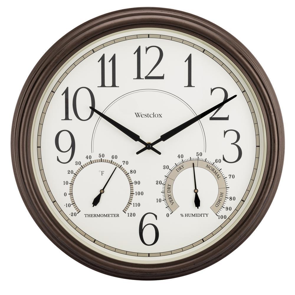 """32247- Westclox 20"""" Indoor/Outdoor Wall Clock, Bronze"""