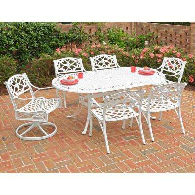 Biscayne White 7-Piece Patio Dining Set with Green Apple Cushions (4 Stationary/2 Motion)