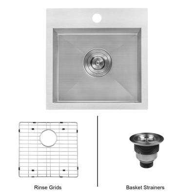 15 in. Drop-in Single Bowl 16-Gauge Stainless Steel Square Topmount Bar Prep Kitchen Sink