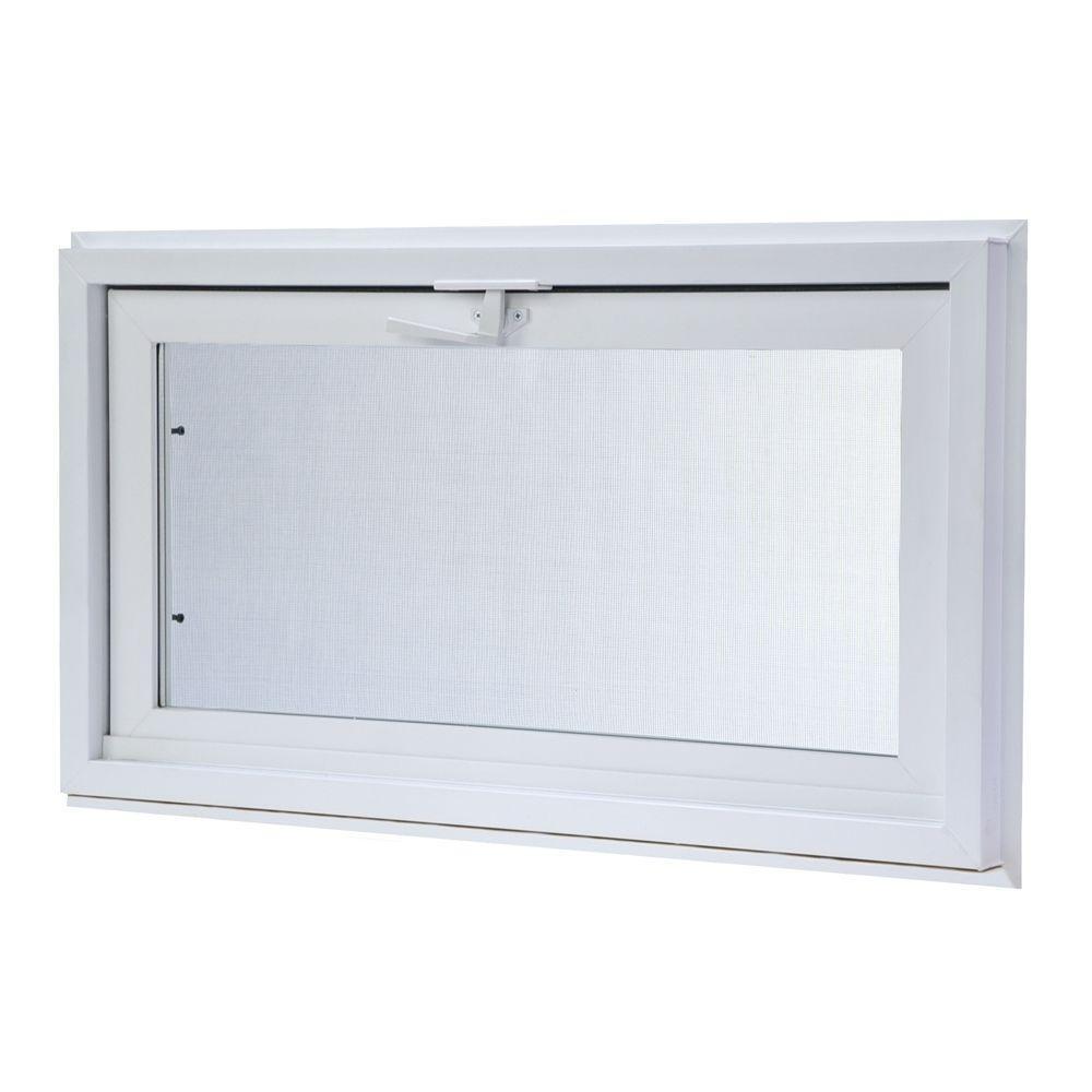 Vinyl Hopper Basement Window with Dual Pane Insulated Glass - White