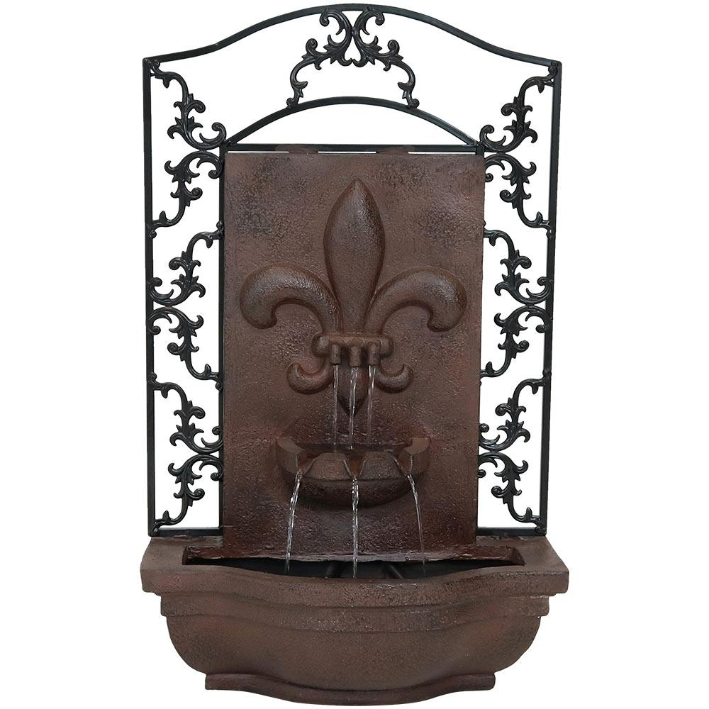 Sunnydaze Decor French Lily Electric Ed Outdoor Wall Fountain In Iron