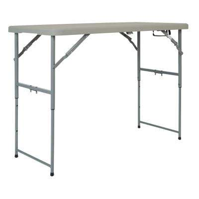4 ft. Adjustable Folding Light Gray Multi-Purpose Table