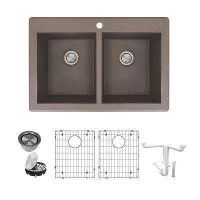 Radius All-in-One Drop-in Granite 33 in. 1-Hole Equal Double Bowl Kitchen Sink in Espresso