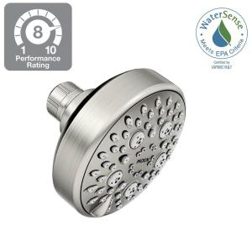 Moen Avira 4-Spray 4 inch Showerhead Featuring HydroBoost in Spot Resist Brushed Nickel by MOEN