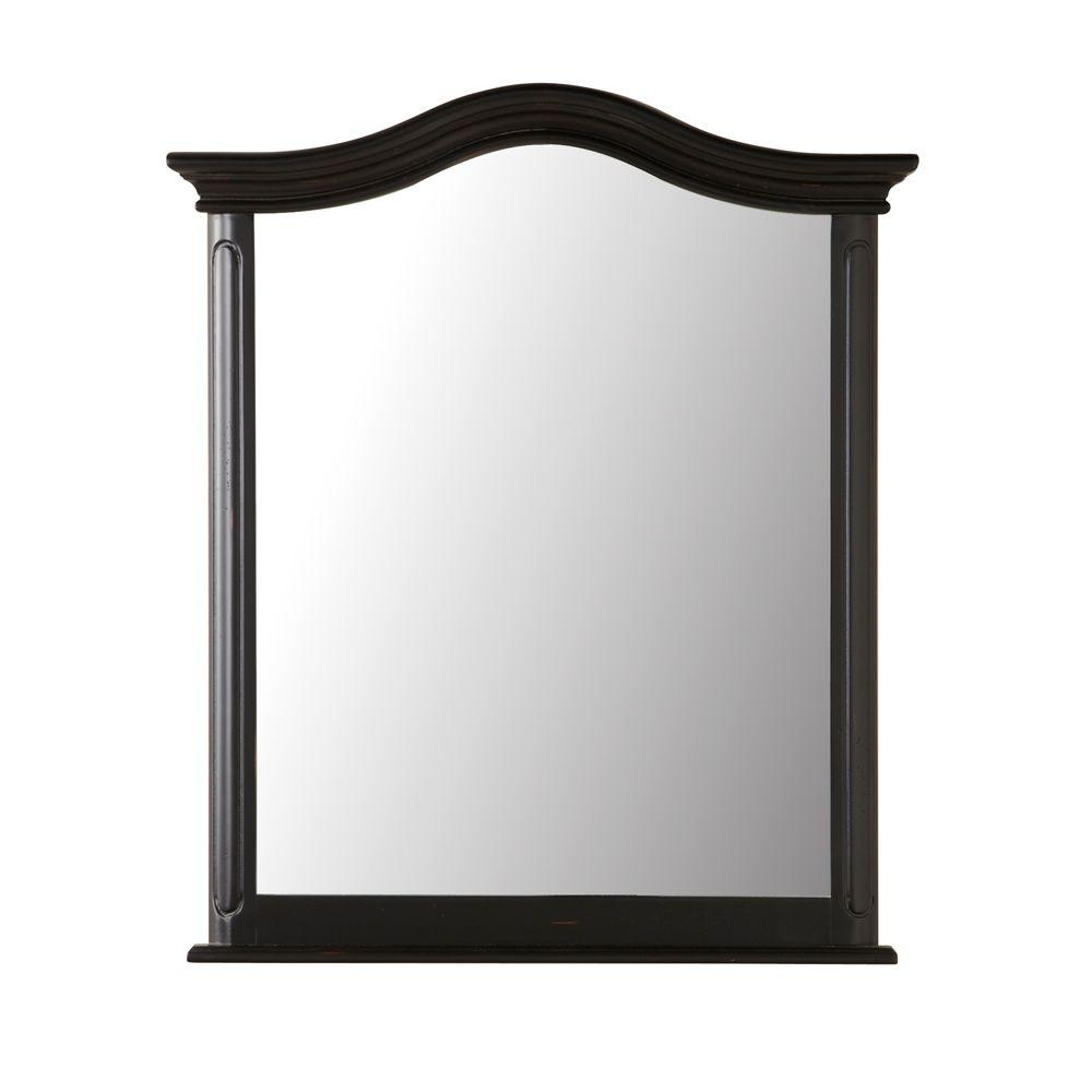 Home Decorators Collection Provence 29 in. W x 33 in. L Wall Mirror in Black