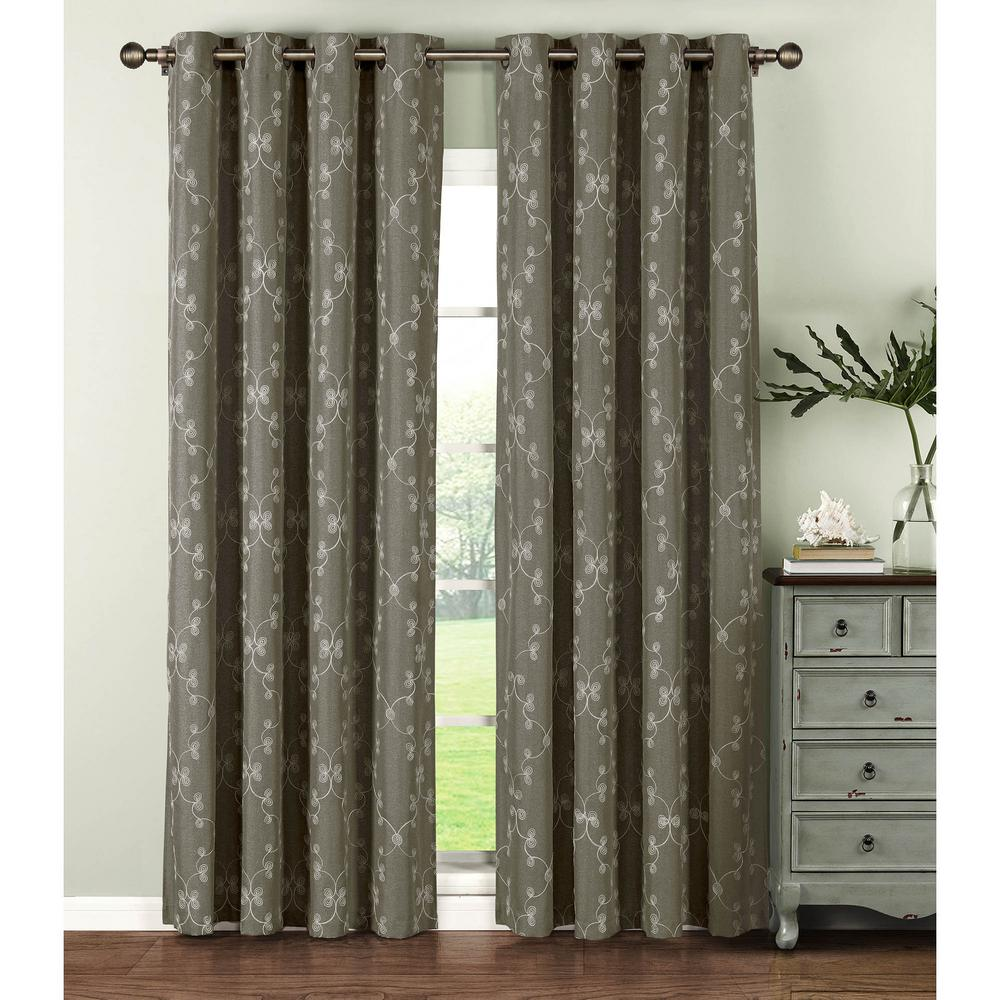 Semi-Opaque Geo Gate Embroidered Faux Linen Extra Wide 96 in. L