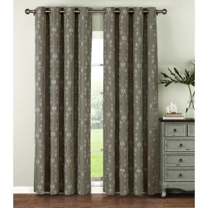 Window Elements Semi-Opaque Geo Gate Embroidered Faux Linen Extra Wide 96 inch L Grommet Curtain Panel Pair, Charcoal... by Window Elements