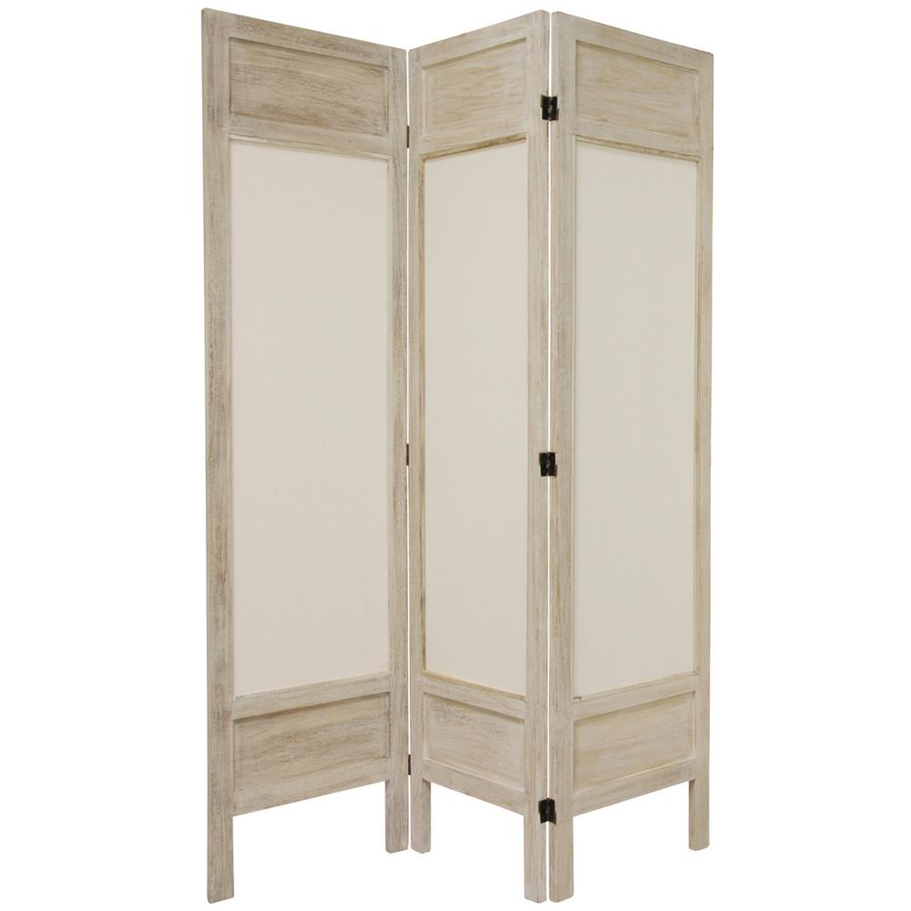 Oriental 6 ft. Burnt White Solid Muslin 4-Panel Room Divider