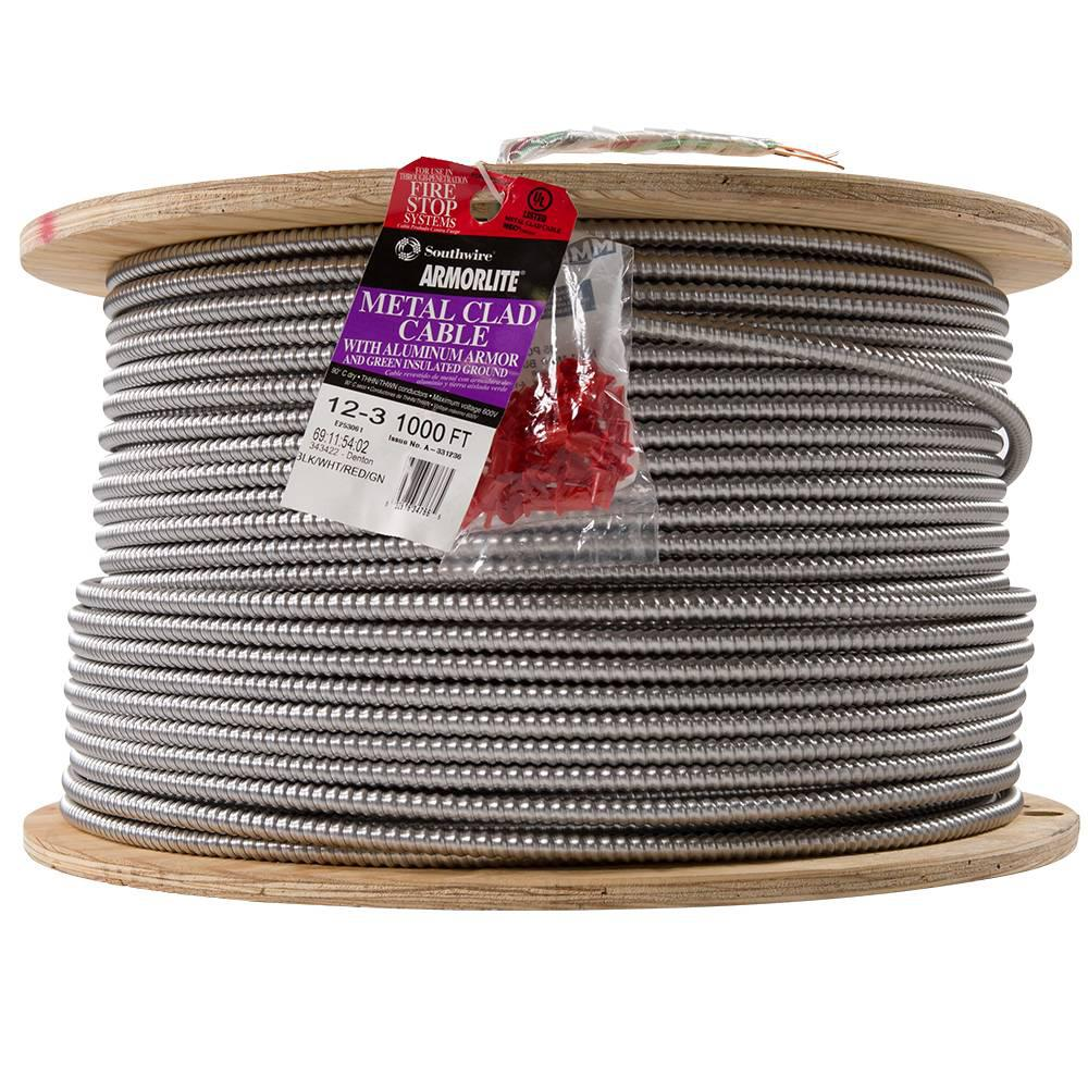 Southwire 12/3 x 1,000 ft. Stranded CU MC (Metal Clad) Armorlite Cable