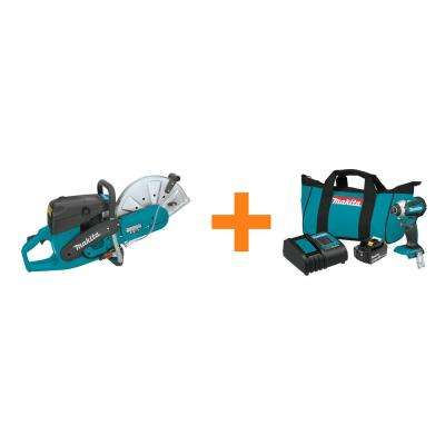 5.1 HP 73cc 14 in. Gas Saw with Bonus 18-Volt LXT Lithium-Ion Brushless Impact Driver Kit with (1) Battery 3.0Ah