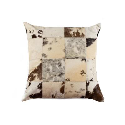 Torino Patchwork Cowhide S&P Black & White Animal Print 18 in. x 18 in. Throw Pillow
