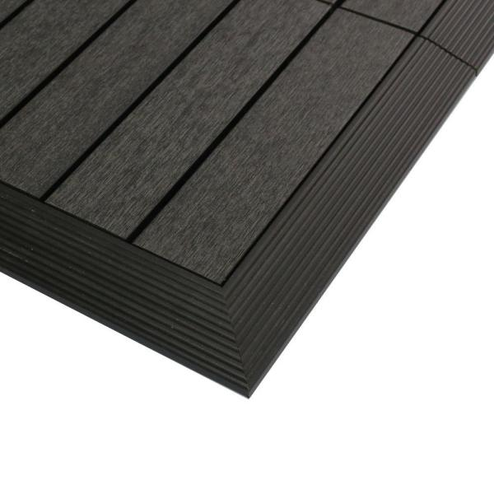 1/6 ft. x 1 ft. Quick Deck Composite Deck Tile Outside Corner Fascia in Hawaiian Charcoal (2-Pieces/Box)