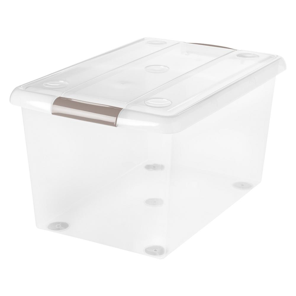 61-Qt. Store and Slide Storage Box in Clear Tan Handle