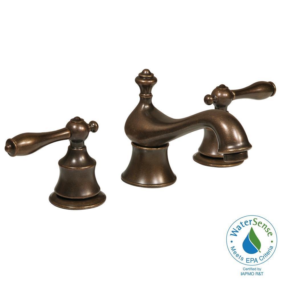 Estates 8 in. Widespread 2-Handle High-Arc Bathroom Faucet in Heritage Bronze