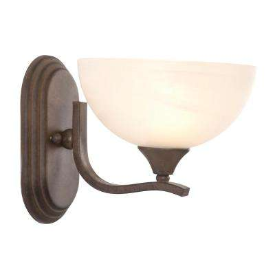 Glacier Point Collection 1-Light Dark Brown Bathroom Vanity Light with Ivory Cloud Glass Shade