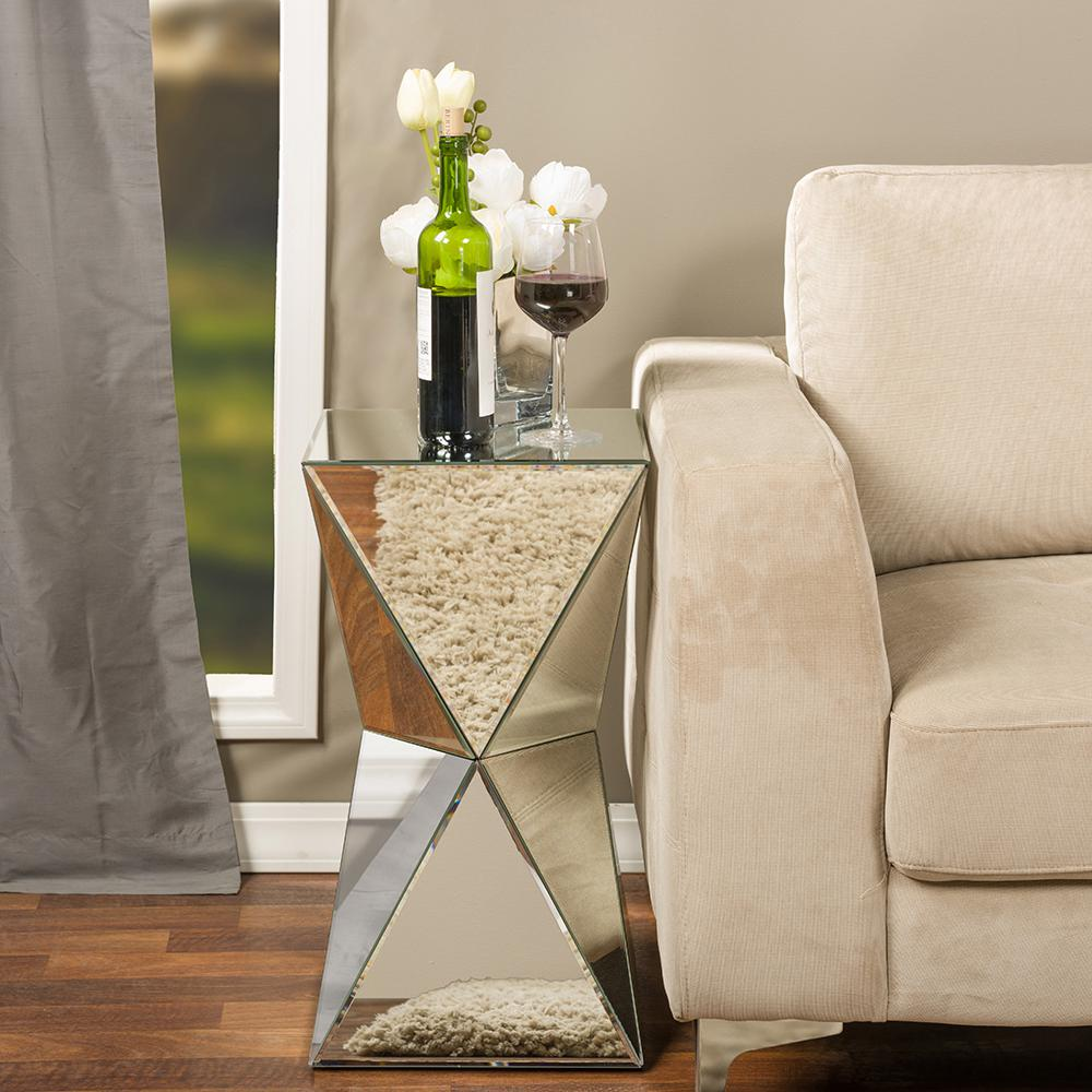 Baxton Studio Rebecca Glam Silver Metallic Finished End Table