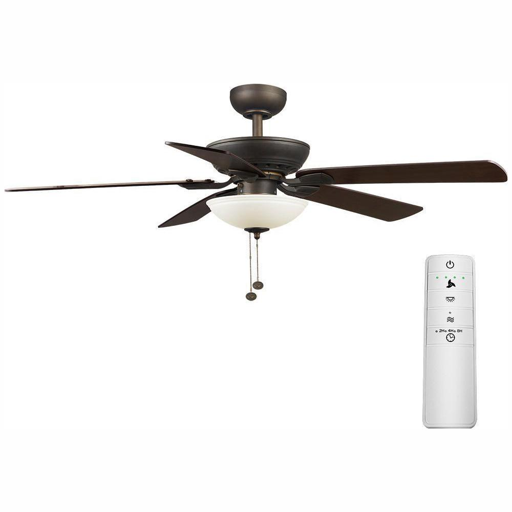 Hampton Bay Connor 52 in. LED Oil-Rubbed Bronze Smart Ceiling Fan with Light Kit and WINK Remote Control