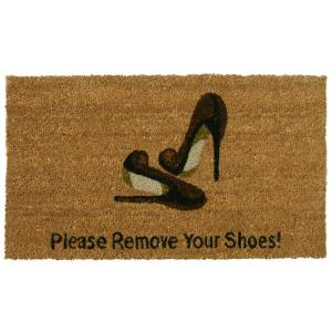 Rubber-Cal Welcome and Please Remove your Shoes 18 inch x 30 inch Door Mat by Rubber-Cal