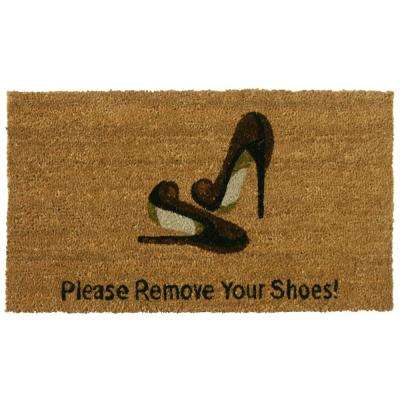 Welcome and Please Remove your Shoes 18 in. x 30 in. Door Mat