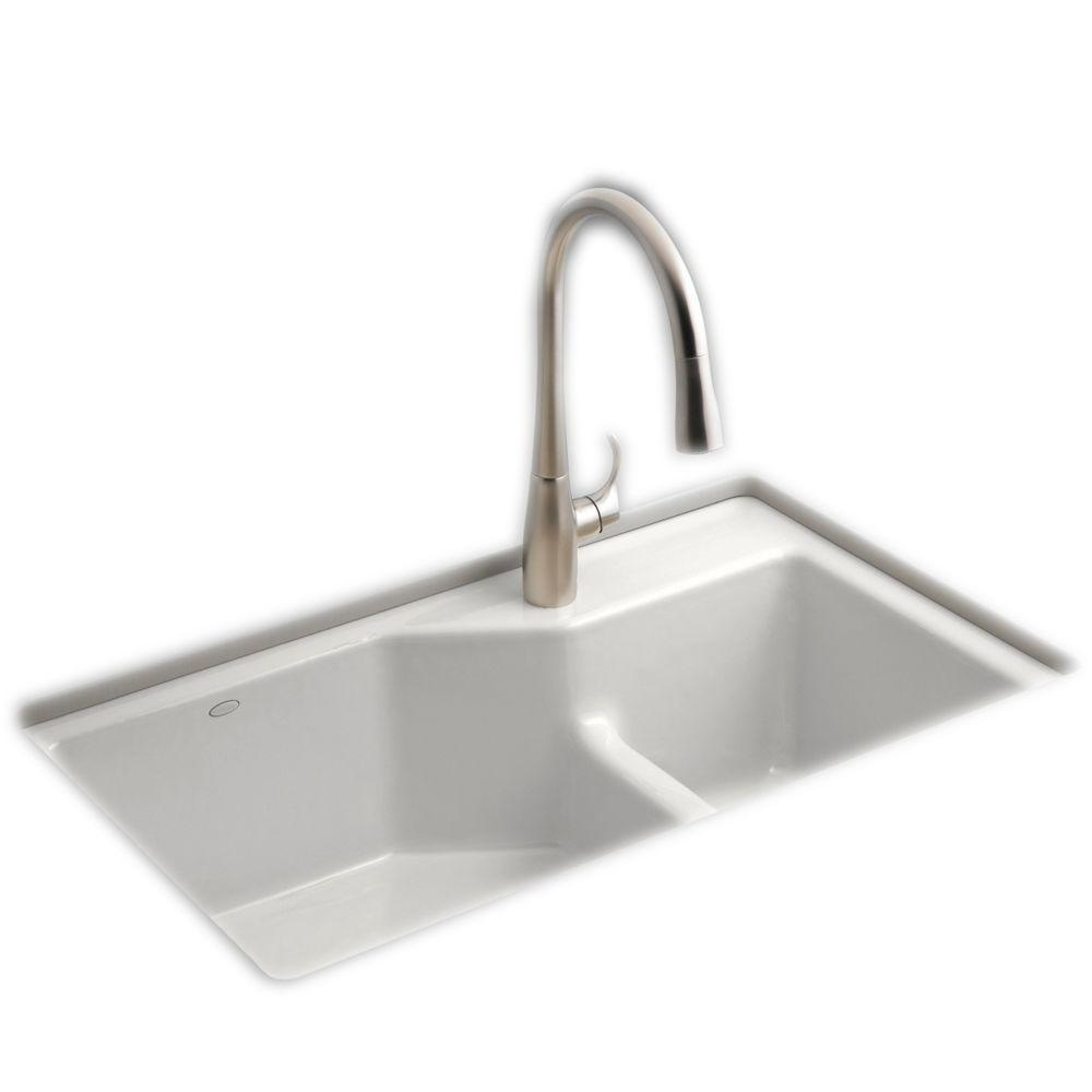 KOHLER Indio Smart Divide Undermount Cast Iron 33 in. 1-Hole Double Bowl  Kitchen Sink Kit in White