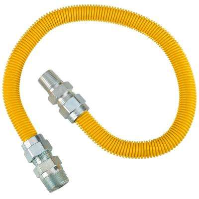 5/8 in. OD (1/2 in. ID) x 3/4 in. MIP x 1/2 in. MIP x 30 in. Polymer Coated Range Connector in Yellow