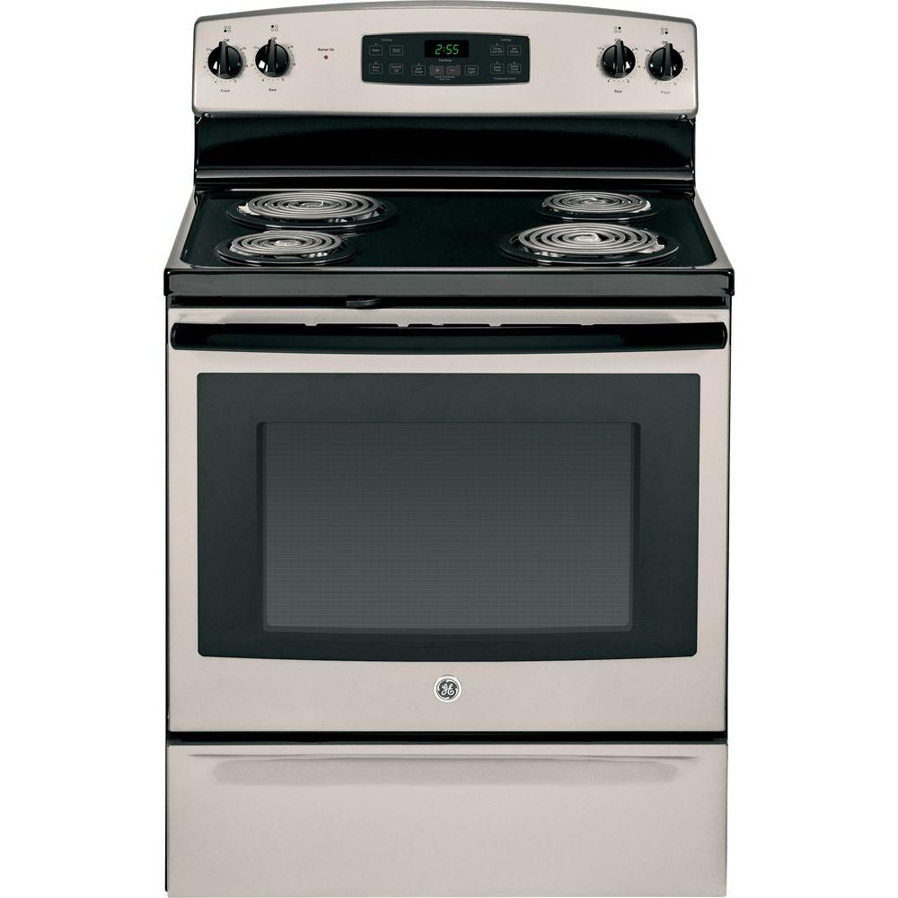GE 5.0 cu. ft. Electric Range with Self-Cleaning Oven in Silver