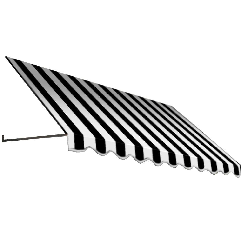 AWNTECH 8.375 ft. Dallas Retro Window/Entry Awning (24 in. H x 36 in. D) in Black/White Stripe