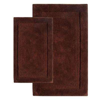 21 in. x 34 in. and 24 in. x 40 in. 2-Piece Olympia Bath Rug Set in Chocolate