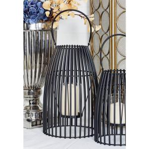 Black Cage-Inspired Candle Lantern with Handle by