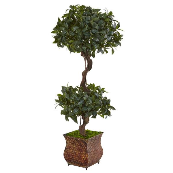 Nearly Natural Indoor 4.5 in. Sweet Bay Double Topiary Artificial Tree