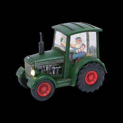 6.5 in. H Battery-Operated Spinning Water Globe Tractor with Santa and a Timer Feature