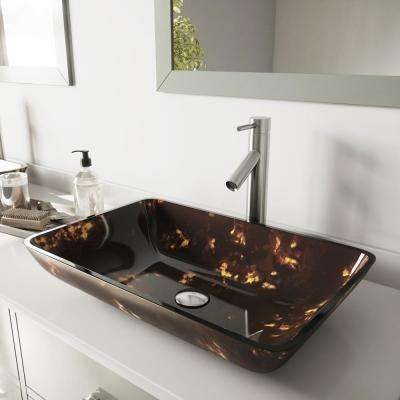 Rectangular Glass Bathroom Vessel Bathroom Sink in Brown and Gold Fusion and Dior Faucet Set in Brushed Nickel