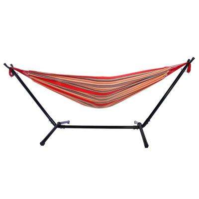 3.4 ft. Portable Outdoor Polyester Hammock Set in Red