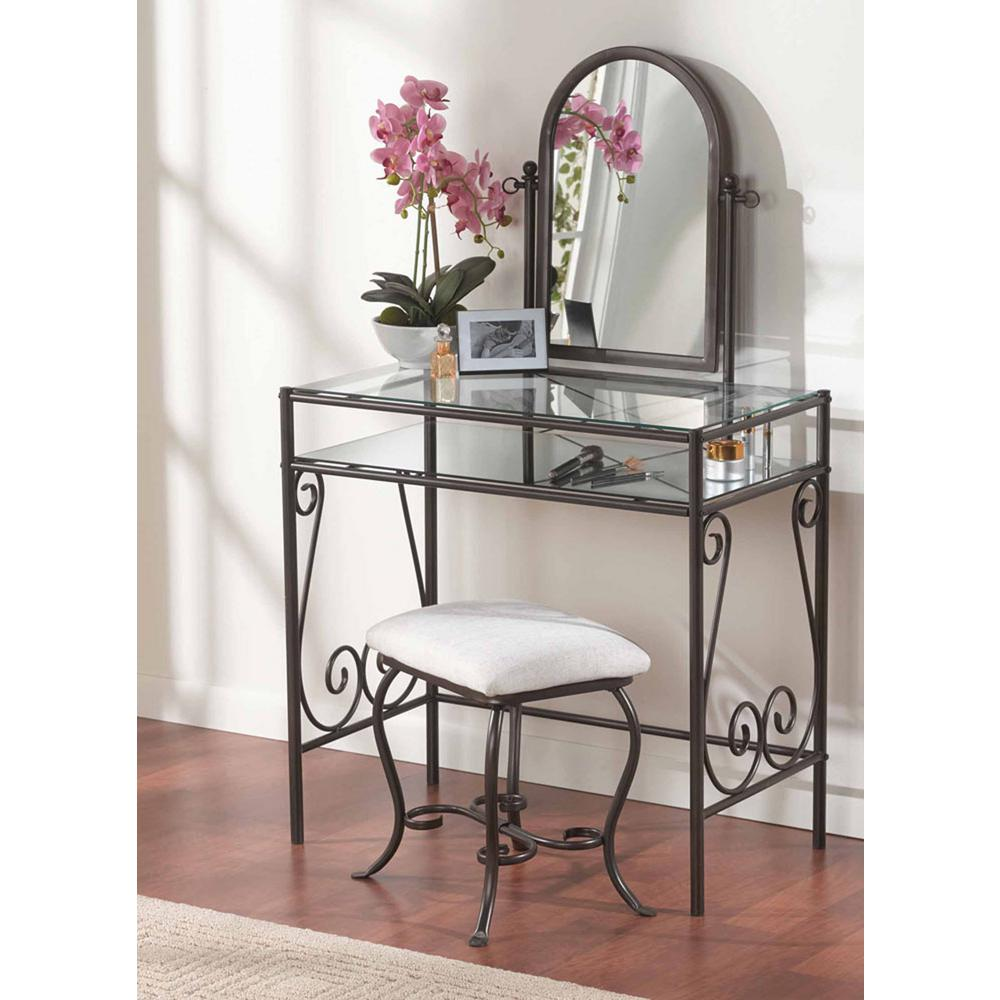 Beau Linon Home Decor Clarisse 2 Piece Dark Metal Vanity Set
