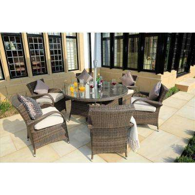 Sicily 7-Piece Wicker Outdoor Dining Set with Washed Cushion-Brown Wicker
