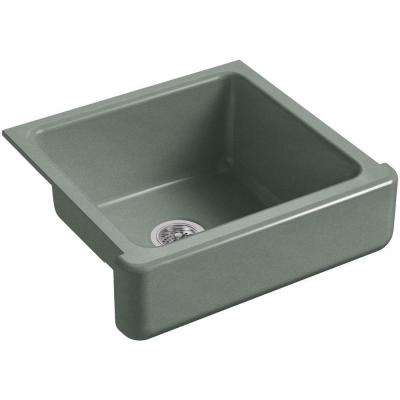 Whitehaven Farmhouse Short Apron-Front Cast Iron 24 in. Single Bowl Kitchen Sink in Basalt