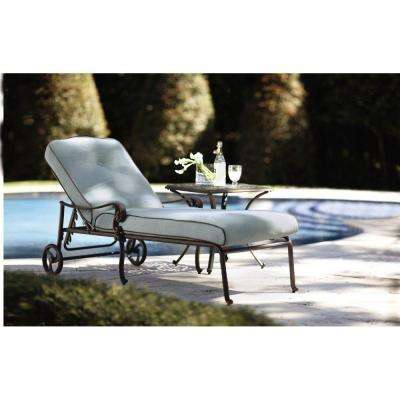 Madrid 73 in. L Bronze Patio Chaise Lounge with Bermuda Blue Cushions